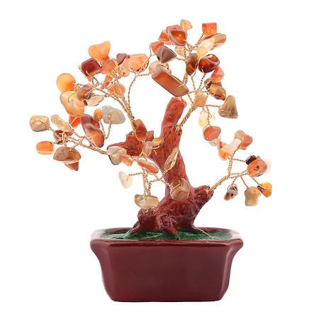 Copac cu agate pe suport dreptunghiular ceramic remediu Feng Shui din Agat, 80 mm lungime