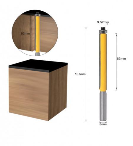 Freza lunga lemn pentru copiere cu prindere de 8 mm