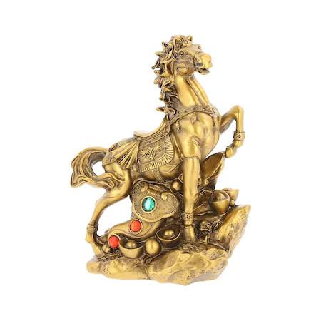 Cal auriu cu Ru Yi pe monede si pepite remediu Feng Shui din Rasina, 190 mm lungimeCal auriu cu Ru Yi pe monede si pepite remediu Feng Shui din Rasina, 190 mm lungime