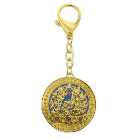 Amuleta armoniei in familie Tara Albastra -Akshobya buddha (acsobaia) remediu Feng Shui din Metal, 35 mm lungime