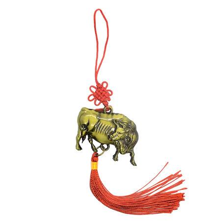 Amuleta cu bivol remediu Feng Shui din Metal, 45 mm lungime