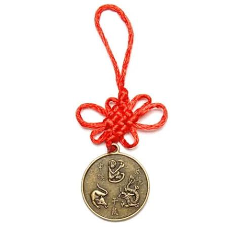Amuleta de protectie pentru aliati zodiacali Maimuta, Sobolan si Dragon remediu Feng Shui din Alama, 125 mm lungime