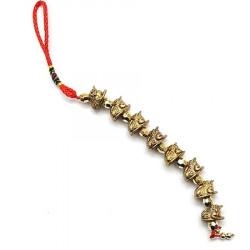 Amuleta cu opt broscute norocoase aurii remediu Feng Shui din Rasina, 250 mm lungime