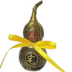 Amuleta sanatate Wu Lou, cel mai puternic remediu feng shui pentru probleme de sanatate, metal auriu vintage 12 cm inaltime