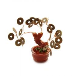 Copacel cu monede norocoase si sacul abundentei remediu Feng Shui din Metal|Rasina, 100 mm lungime