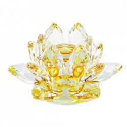 Floare de lotus galbena din cristal remediu Feng Shui, 80 mm lungime