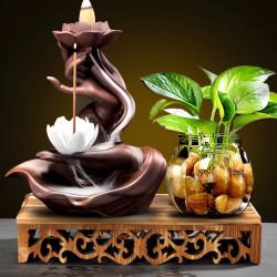 Suport aromaterapie LOTUS, conuri parfumate backflow, ceramica maro