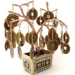 Pomul abundentei, copac norocos cu monede chinezesti Feng Shui, pentru bunastare si bani, metal calitate, 15 cm