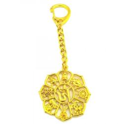 Amuleta cu cele 8 Simboluri Norocoase remediu Feng Shui din Metal, 40 mm lungime