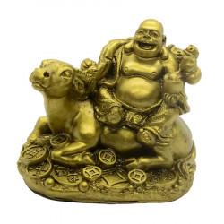 Bivol cu Buddha razand si monede remediu Feng Shui din Rasina, 75 mm lungime