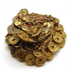 Broasca raioasa pe monede si cristale rosii remediu Feng Shui din Rasina