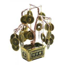 Copac auriu cu monede - Copacul prosperitatii, remediu Feng Shui din Metal, 110 mm lungime