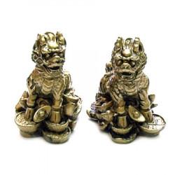 Pereche de Chi Lin aurii din rasina remediu Feng Shui din Rasina, 50 mm lungime