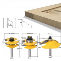 Set 3 freze lemn GOBI pentru usi dulap / fete sertar prindere 12.7 mm