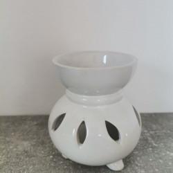 Suport ceramica ulei aromaterapie rotund alb