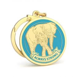 Amuleta ALWAYS STRONG - elefantul puternic remediu Feng Shui din Metal, 50 mm lungime