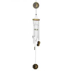 Clopotel de vant cu cinci brate si Yin Yang remediu Feng Shui din Lemn|Metal, 650 mm lungime
