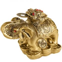 Elefant auriu cu trompa in sus si broasca banilor, amuleta Feng Shui pentru bogatie si indepartare de obstacole