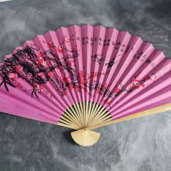 Evantai mare perete Feng Shui roz, randunici si flori de cires 90 cm x 160 cm