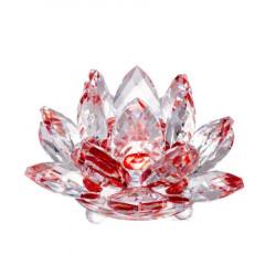 Floare de lotus rosie din cristal remediu Feng Shui din Cristal, 80 mm lungime