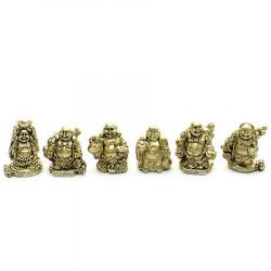 Set sase Buddha Razand aurii remediu Feng Shui din Rasina, 30 mm lungime