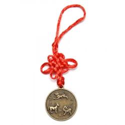 Amuleta de protectie pentru aliati zodiacali Tigru, Cal si Caine remediu Feng Shui din Alama, 120 mm lungime