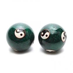 Bile pentru relaxare verzi cu Yin si Yang (Baoding) remediu Feng Shui din Metal, 35 mm lungime