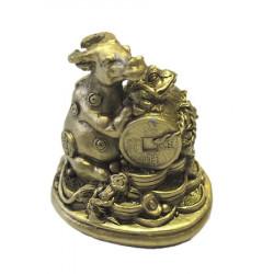 Bivol cu monede, nod mistic si broasca norocoasa remediu Feng Shui din Rasina, 60 mm lungime