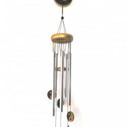 Clopotei de vant cu elemente din lemn Yin Yang , Feng Shui 5 tuburi metalice, 85 cm