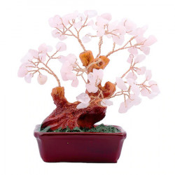 Copac cu cuart roz pe suport ceramic - mare remediu Feng Shui din Cuart, 95 mm lungime