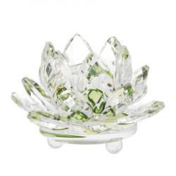 Floare de lotus verde din cristal remediu Feng Shui din Cristal, 80 mm lungime