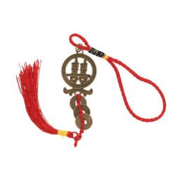 Amuleta cu simbolul dublei fericiri si Monede Chinezesti remediu Feng Shui din Metal, 210 mm lungime