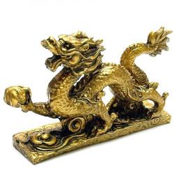 Dragon cu perla nemuririi remediu Feng Shui din Rasina, 150 mm lungime