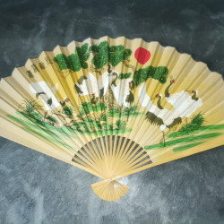 Evantai mare perete Feng Shui galben, cocori 90 cm x 160 cm