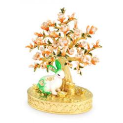 Statueta cu Iepure si Floare de Piersic remediu Feng Shui din Metal, 80 mm lungime