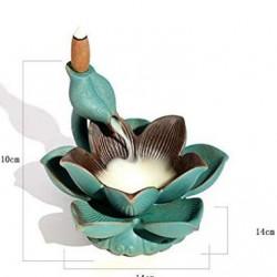 Suport ardere conuri parfumate cascada - backflow, Lotus cu lumina LED AR54