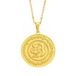 Amuleta de protectie, sanatate si prosperitate- Medalionul celor 8 simboluri tibetane, cele 12 zodii si silaba HRIH remediu Feng Shui din Metal, 45 mm lungime