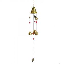 Clopotei de vant cu banuti pentru avere remediu Feng Shui din Metal, 550 mm lungime