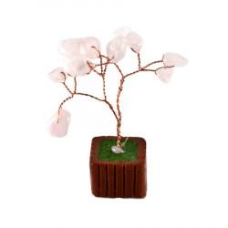 Copac cu cuart roz pe suport maro remediu Feng Shui din Cuart roz, 60 mm lungime