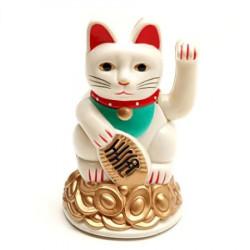 Pisica norocoasa Maneki Neko alba remediu Feng Shui din Plastic, 70 mm lungime