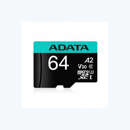 Card de memorie ADATA PremierPRO, MicroSDXC, 64GB, UHS-I U3 + Adaptor - AUSDX64GUI3V30SA2