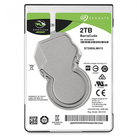 HDD Laptop Seagate BarraCuda® 2TB, 5400rpm, 128MB cache, SATA III - ST2000LM015