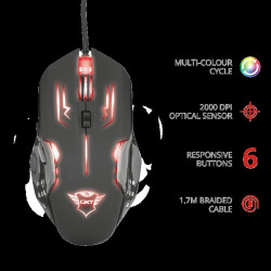 Mouse cu fir Trust GXT 108 Rava Illuminated Gaming Mouse Specifications General Height of main product (in mm) 122 mm Formfactor standard Width of main product (in mm) 88 mm Depth of main product (in mm) 34 mm Total weight 111 g Ergonomic design no Connec