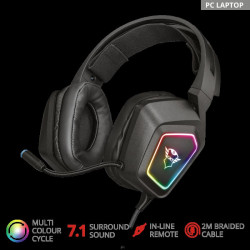 Casti gaming Trust GXT 450 BLIZZ RGB, 7.1 surround, Negru - TR-23191