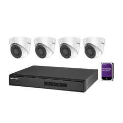Kit Hikvision NK42E2H-1T(WD) 4 camere IP PoE de 2MP. Include 4 camere IP Turret PoE, NVR cu 4 iesiri PoE, HDD 1TB - NK42E2H-1T(WD)