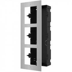 Panou frontal pentru 3 module videointerfon modular Hikvision DS-KD- ACF3/S; per - DS-KD-ACF3/S