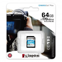 Card de memorie SD Kingston Canvas GO Plus, 64GB, Clasa 10, UHS-I, Adaptor inclus - SDG3/64GB