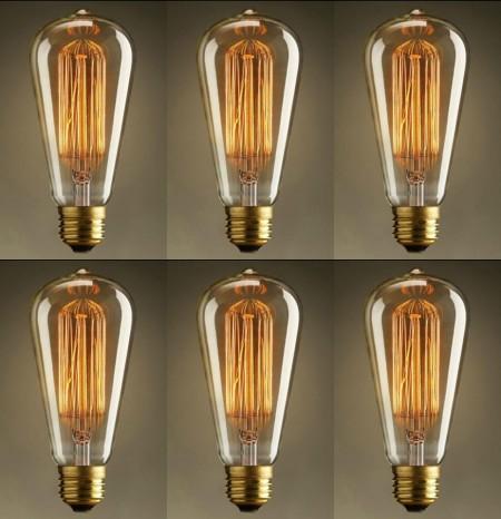 Pachet 6 Becuri Edison Vintage cu lumină caldă, Squirrel cage, incandescent, 40W, E27