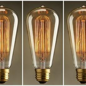 Pachet 3 Becuri Edison Vintage cu lumină caldă,, Squirrel cage, incandescent, 40W, E27