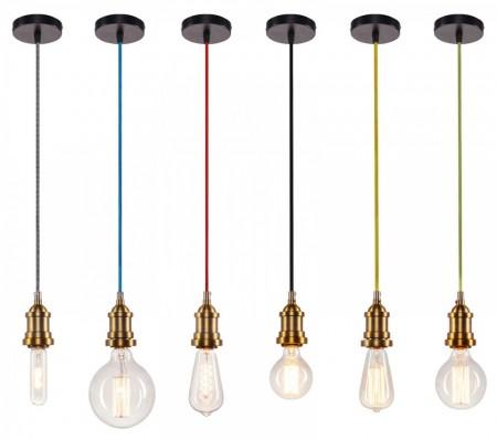 Corp de iluminat Pendul, Retro Vintage, Textil Albastru, Baza Metalica Alama, E27 - ALBASTRU 208-F